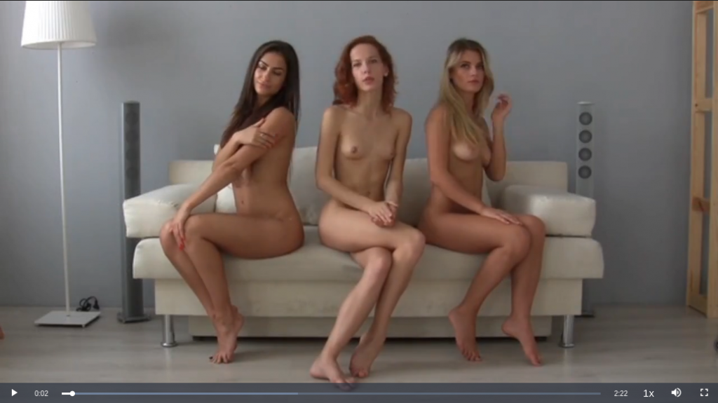 Fast Motion video of Three Nude Models